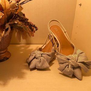 Zara Size 9 Stripe BowtieKitten Heel Slingback